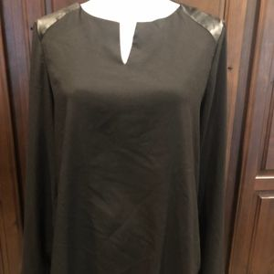 MARC New York L/S BLOUSE W/FAUX LEATHER TRIM-SZ M